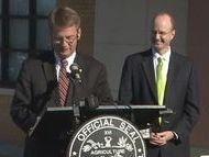 Knox County Mayor Tim Burchett, left, with Knox County School Superintendent Jim McIntyre