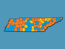 January unemployment rates went up in the counties shaded in orange, decreased in the counties shaded blue, and stayed the same in the counties shaded gold. Based on data from the Tennessee Department of Labor and Workforce Development.