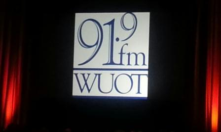 The WUOT logo lights up the stage at Monday's 2014 Edward R. Murrow Awards at the Marriott Marquis in New York