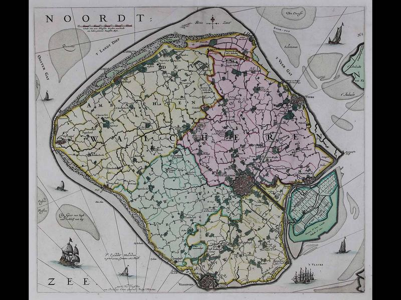 Walcheren (The island of Walcheren in the province of Zeeland, the Netherlands), 1690, by Nicholaes Visscher, Copperplate engraving with original hand color, Published in Amsterdam, Gift of Jeffery M. Leving, 2014.17.15.
