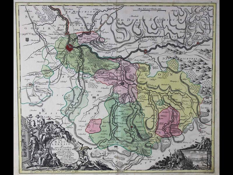 Pagi Basileensis qui pars est reipublicae Helvetiorum,..(The Canton of Basel, Switzerland), 1780, by George Matthaeus Seutter, Copperplate engraving with original hand color, Published in Augsburg, Gift of Jeffery M. Leving, 2014.17.17.