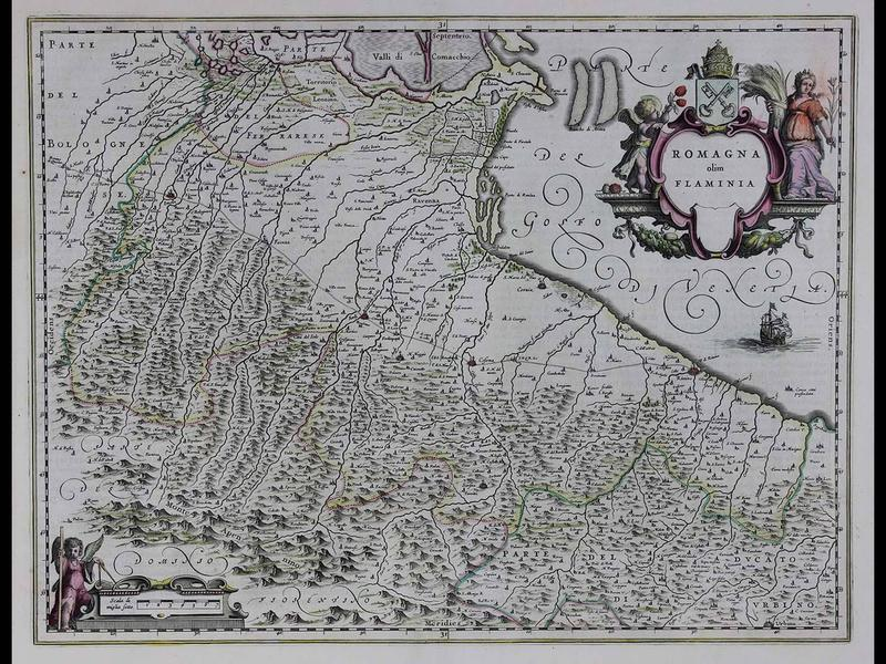 Romagna olim Flaminia (Romagna, the south-eastern portion of present-day Emilia- Romagna, Italy), 1640, by Willem Blaeu, Copperplate engraving with original hand color, Published in Amsterdam, Gift of Jeffery M. Leving, 2014.17.36.