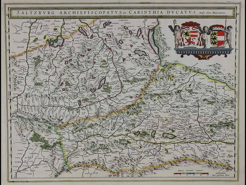 Saltzburg Archiepiscopatus Carinthia Ducatus (The archbishopric of Salzburg and the Duchy of Carinthia), 1643, by Willem Blaeu, Copperplate engraving with original hand color, Published in Amsterdam, Gift of Jeffery M. Leving, 2014.17.39.