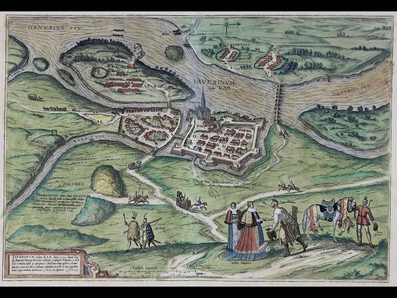 Iaverinum vulgo Rab Anno 1594 (A bird's eye view of Györ, Hungary in 1594), Published in 1598, by Georg Braun and Frans Hogenberg, Published in Cologne, Gift of Jeffery M. Leving, 2014.17.49.