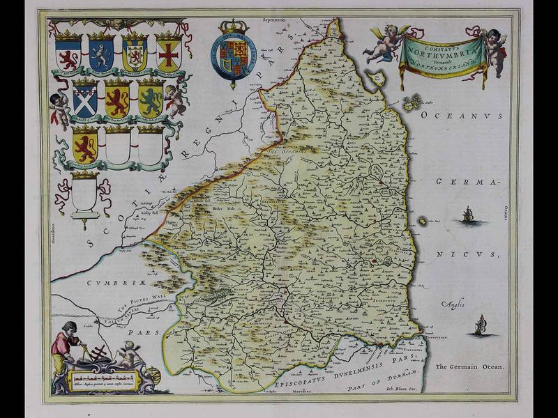 Comitatus Northumbria vernacule Northumberland (Northumberland in the northeast of England), 1645, by Willem Blaeu, Copperplate engraving with original hand color, Published in Amsterdam, Gift of Jeffery M. Leving, 2014.17.56.