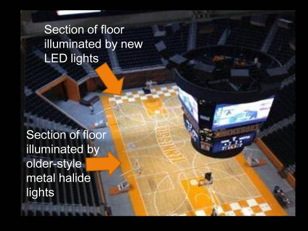 An A/B comparison shows the difference the new system will have on the appearance of the arena's floor.