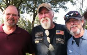 Veterans Randy Lewer (L), Jack Sellers (C), and Steve Leinwand (R) have grown the wreaths' project for Florida National Cemetery in Bushnell from six to 6,500 in just six years.