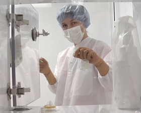 Pharmacist Michelle Alfonso demonstrates proper sterile technique.