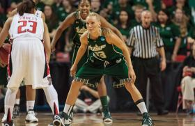 Junior Inga Orekhova (#13) led the Bulls with 20 points Saturday night against Texas Tech in the NCAA Tournament.