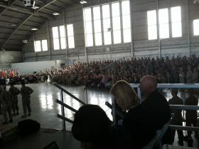 The stands were filled with guests at the U.S. Central Command Change of Command Ceremony inside MacDill Air Force Base Hangar 3.