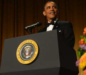 During the dinner, President Obama took on a new role: Comedian-in-Chief.