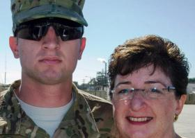 Dorie Griggs and her son, who is currently serving in Afghanistan, during Family Day at Ft. Stewart, GA.