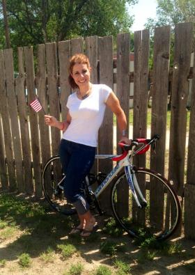 Kiersten Downs in Garden City, Kan. where she spent July 4th resting at about halfway in her cross-country journey.