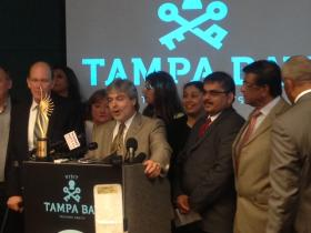 "Councilman Al Higginbotham stands next to Visit Tampa Bay's CEO Santiago Corrada (center) at Monday's press conference announcing Tampa as the host city for IIFA. It was Chetan ""Jason"" Shah's, real estate agent (right), idea to bid for Tampa."