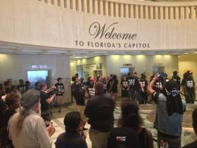 The Dream Defenders gather in the Florida Capitol building's rotunda for a final hurrah Thursday.