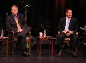 Bill Foster, left, and Rick Kriseman in a recent debate at the Palladium