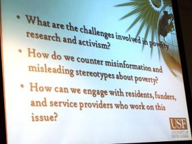 A PowerPoint slide with some of the questions posed at the USF forum on poverty.