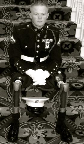 U.S. Marine Justin Gaertner in his dress uniform after his military career ending injury from an IED.