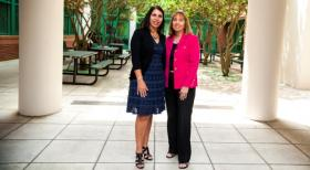Georgina Rivera-Singletary, district supervisor of migrant education for Hillsborough County Schools, with one of her mentors, USF Professor Ann Cranston-Gingras, chair of the College of Education Special Education Department and director of the Center for Migrant Education.