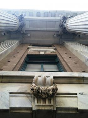 Things are looking up at the courthouse entrance
