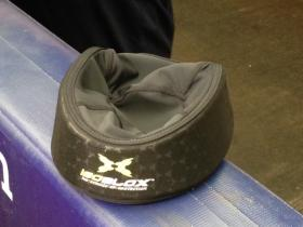 The padded insert resembles a doo-rag that would go underneath a baseball cap.