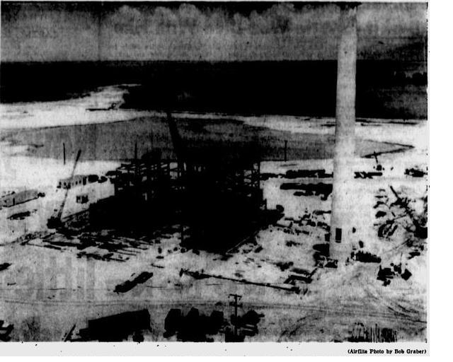 The P. L. Bartow Steam Power Plant under construction on Weedon Island in the summer of 1957.