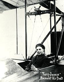 "Pilot Tony Jannus flew an his ""airboat"" across Tampa Bay for paying customers, an event considered to be the birth of commercial aviation."