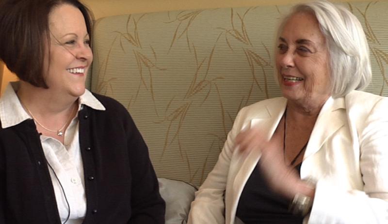 Melane Byrd and Doris Sterer share a joke