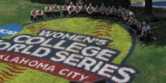USF Bulls Softball team at the Women's College World Series in Oklahoma City, OK