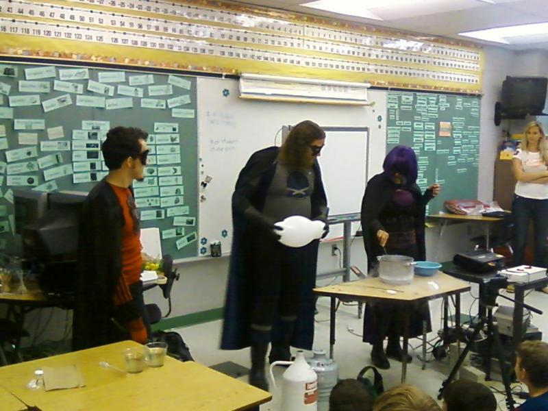 Superconductor, MegaByte & Sublimation (l-r) demonstrate a scientific concept at Maniscalco Elementary School in Lutz
