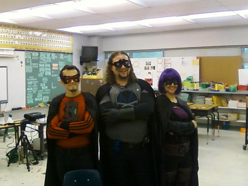 The Scientific League of Superheroes: Superconductor (Robert Bair), MegaByte (Sam DuPont) & Sublimation (Audrey Buttice)