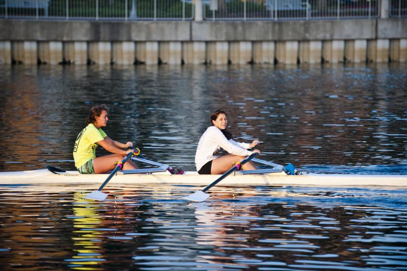 Scullers on the river