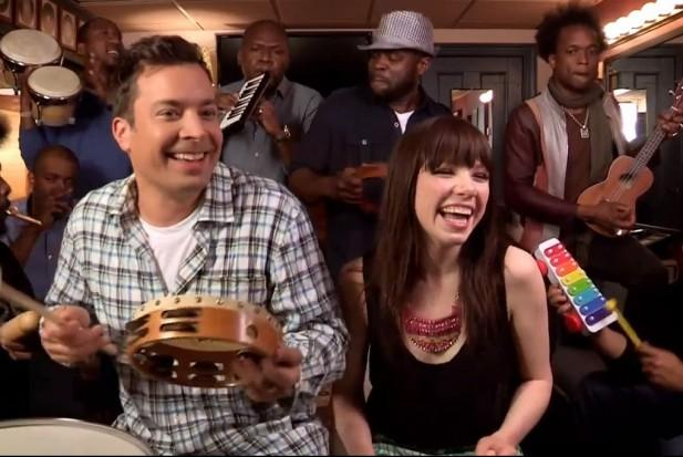 "Jimmy Fallon singing ""Call Me Maybe"" with Carly Rae Jepsen and The Roots. It's a digital meme, but depending on your bubble, you might not know that."