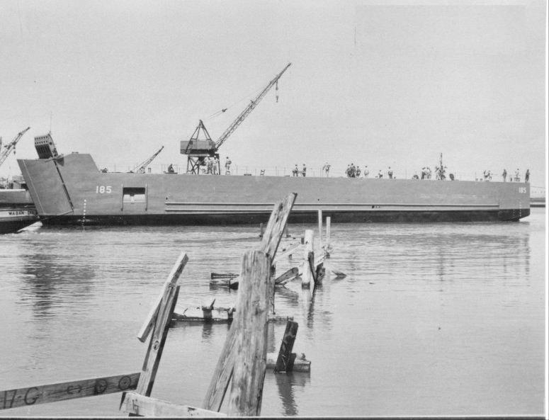 Jack Griffin's ship, LSM 185, after being launched at the Charleston Navy Yard, September 1944.