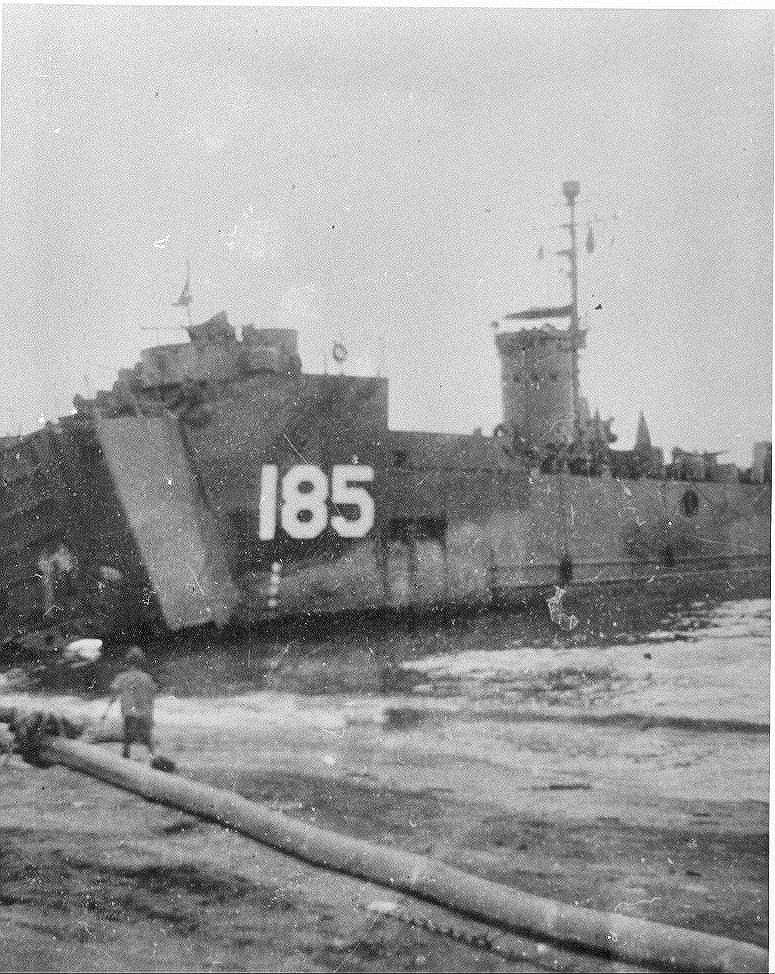 Griffin's ship, LSM 185, on the beach at Leyte, P.I. in 1945