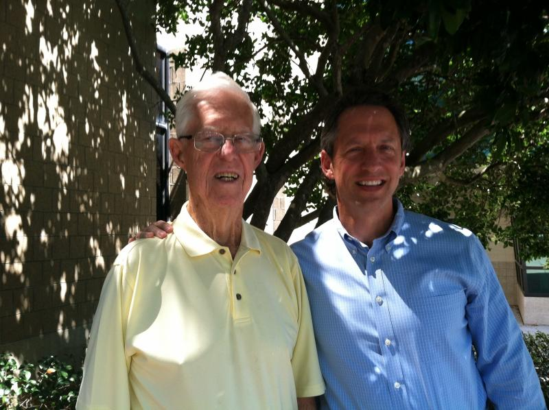 """World War II Navy Veteran and retired Circuit Judge John P. """"Jack"""" Griffin and his son, Tampa attorney, Chris Griffin."""