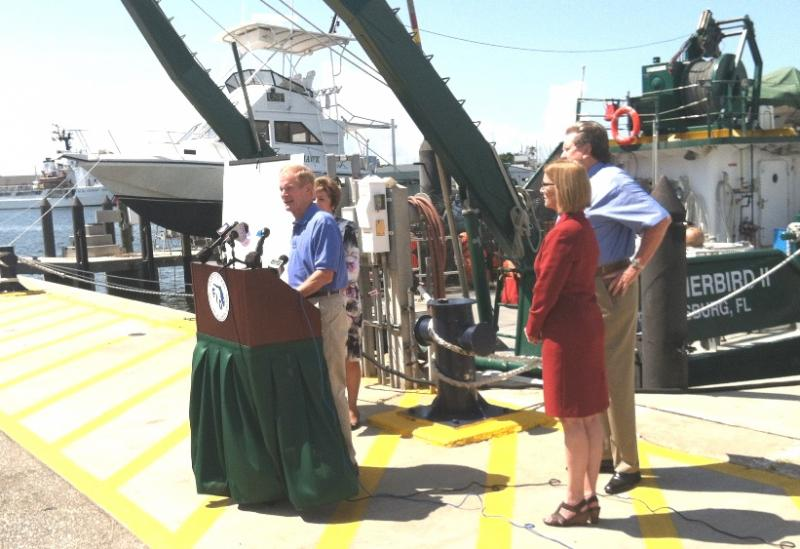Sen. Bill Nelson at USF St. Petersburg with USF President Judy Genshaft; USF College of Marine Science Dean Jackie Dixon; and Bill Hogarth, director of the Florida Institute of Oceanography