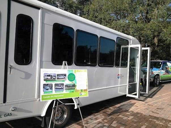 A Tampa International Airport bus powered by clean natural gas