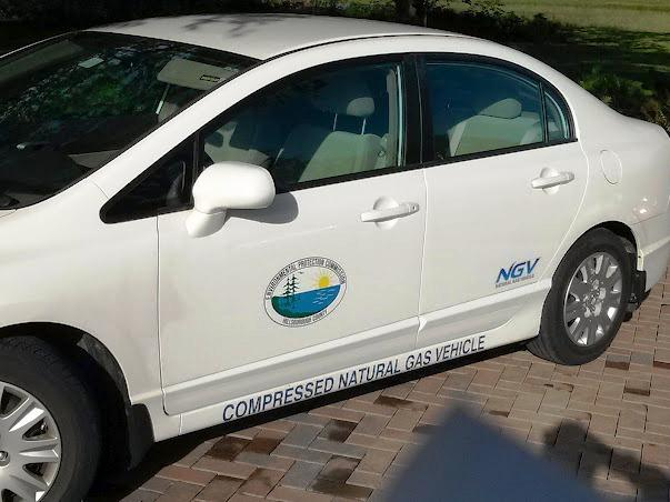 A Hillsborough County Hillsborough EPC compressed natural gas-powered vehicle