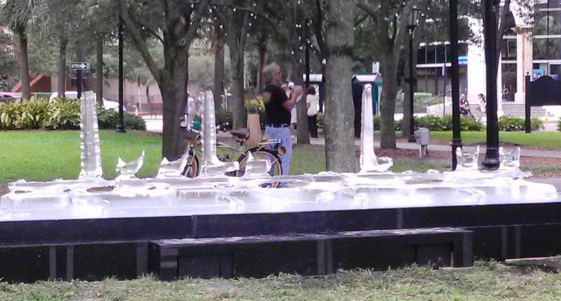 """""""Middle Class"""" ice sculpture set up in Lykes Gaslight Park Sunday after a few hours"""