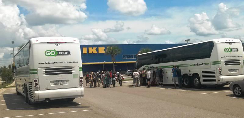 Before the TECO protest, the group stopped at IKEA in Ybor City, but was asked to leave by security before the buses were emptied.
