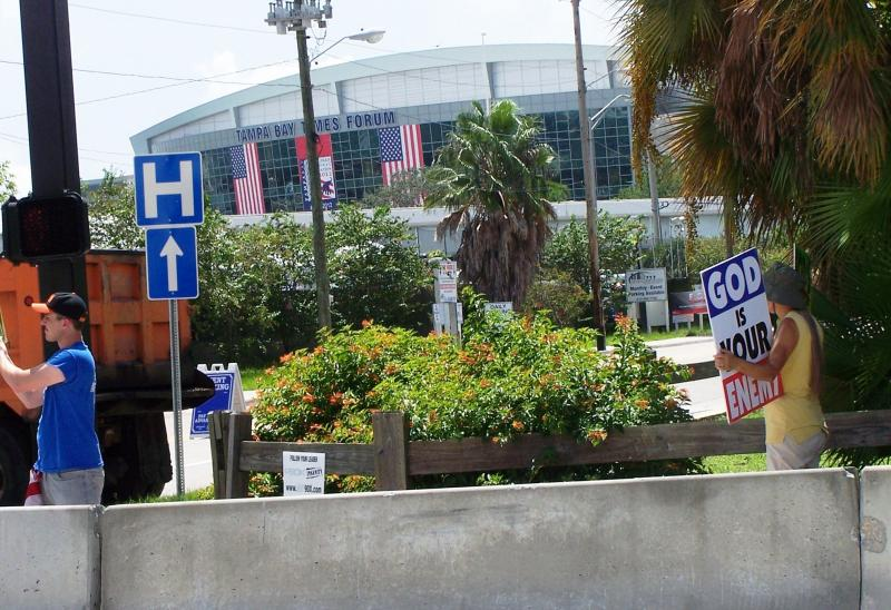 2 of the 6 Westboro Baptist parishoners who protested within site of the Tampa Bay Times Forum Tuesday.