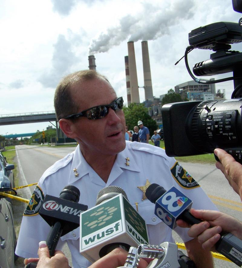 Hillsborough County Sheriff David Gee speaks to reporters after the protest ends