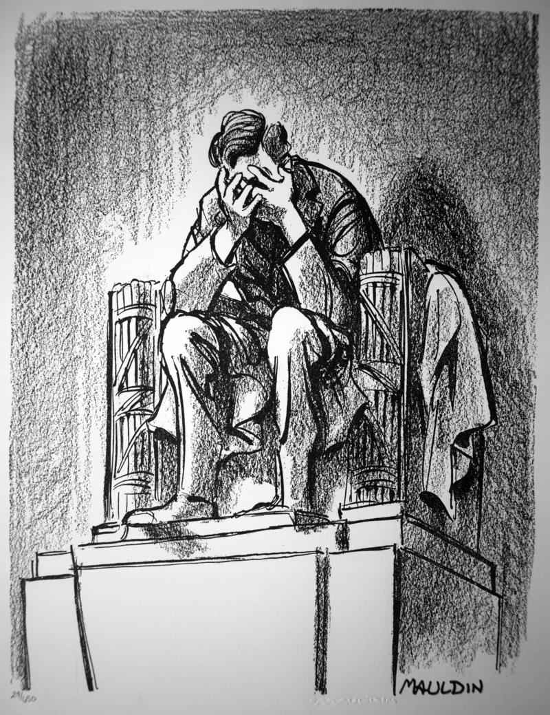 Bill Mauldin's famed cartoon depicting the Lincoln statue mourning the assassination of President Kennedy.