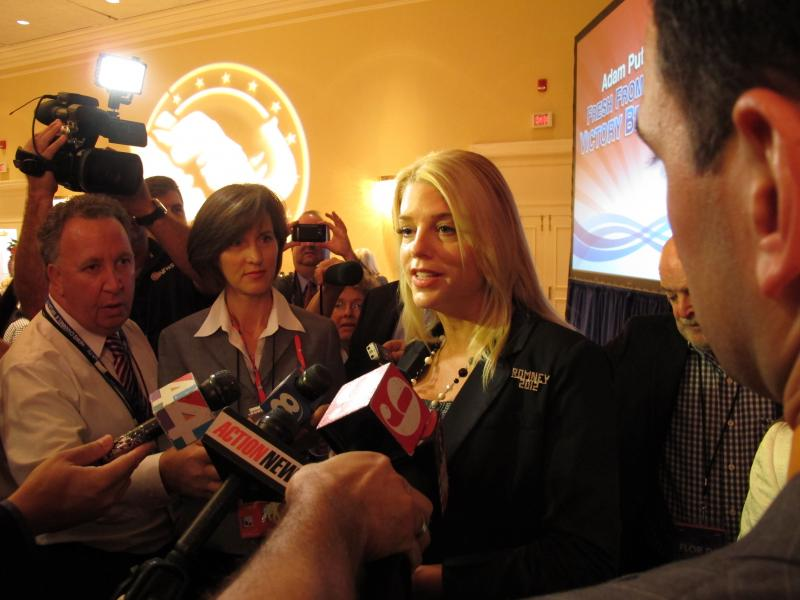 Attorney General Pam Bondi speaking to the press Tuesday.