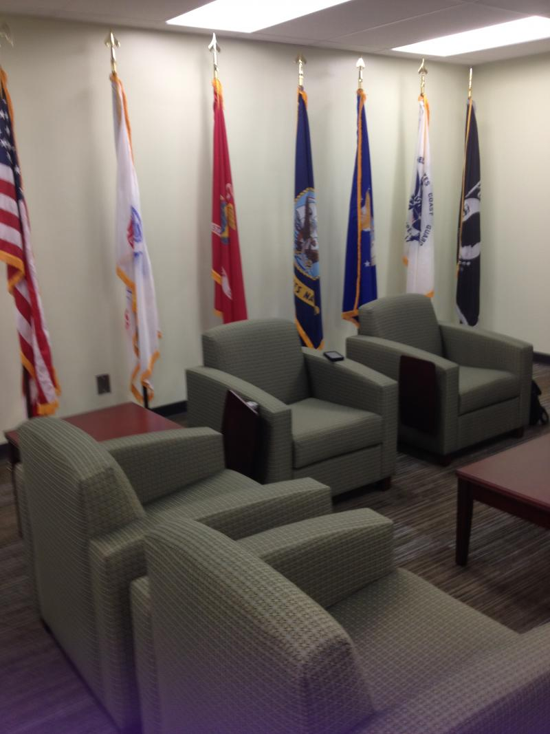 The new lounge offers comfy seating for vets to kick back and relax.  They can also catch a game or watch some TV on the rooms large flat screen.