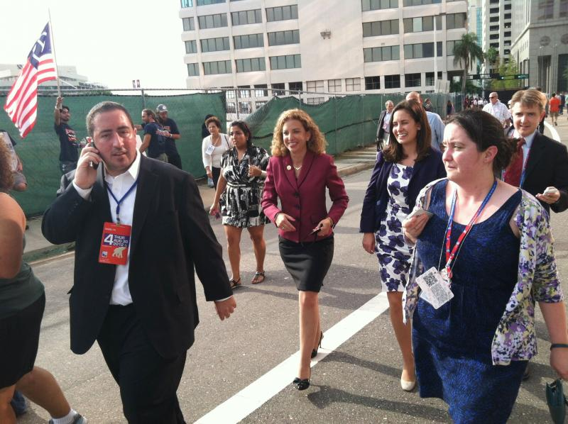 Democratic leader Debbie Wasserman-Schultz on the path to the convention center