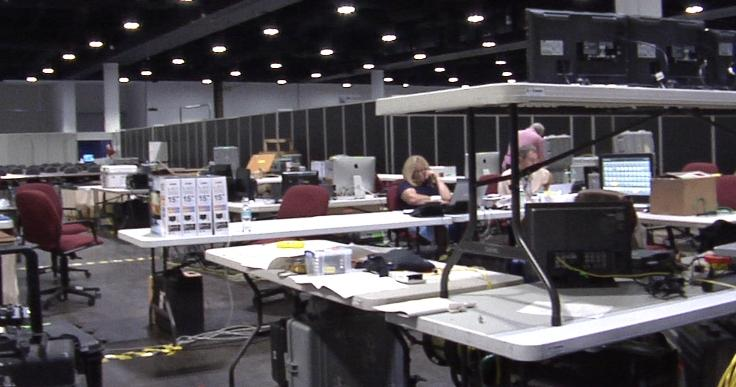 A network news station's room at the convention center.