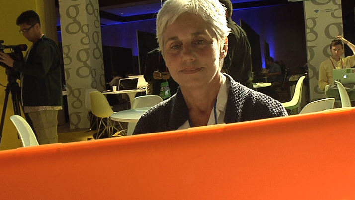 Evelyn Messinger from LinkTV edits a video in the Google Lounge.
