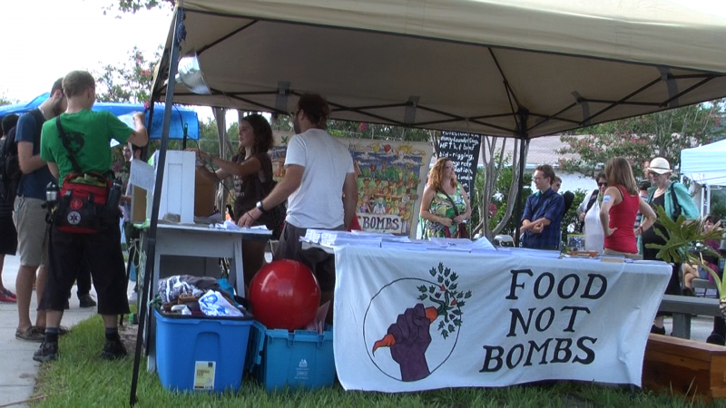 Food Not Bombs volunteers set up at Occupy Tampa's Voice of Freedom Park for their World Gathering on Monday.  They will be on hand to feed protesters during the Republican National Convention.